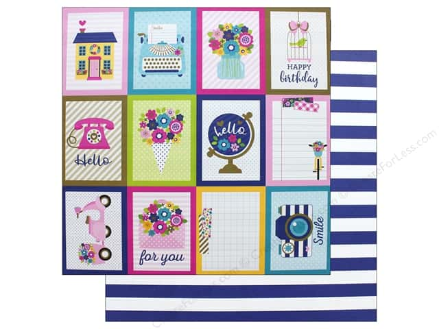 Doodlebug Collection Hello Paper 12 in. x 12 in. Stripe Navy (25 pieces)