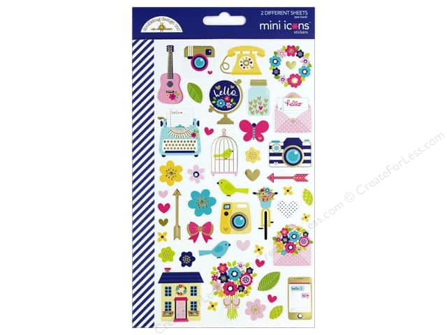 Doodlebug Collection Hello Sticker Mini Icons (12 sets)