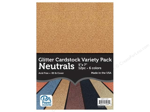 Paper Accents Cardstock Variety Pack Glitter 5 in. x 7 in.  Neutrals 12 pc
