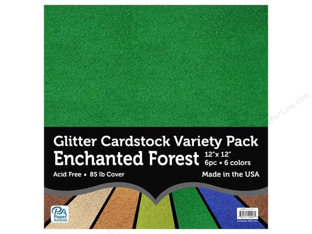 Paper Accents Glitter Cardstock Variety Pack 12 x 12 in. Enchanted Forest 6 pc.