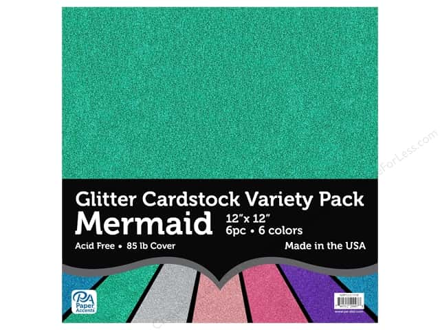 Paper Accents Cardstock Variety Pack Glitter 12 in. x 12 in. Mermaid 6 pc