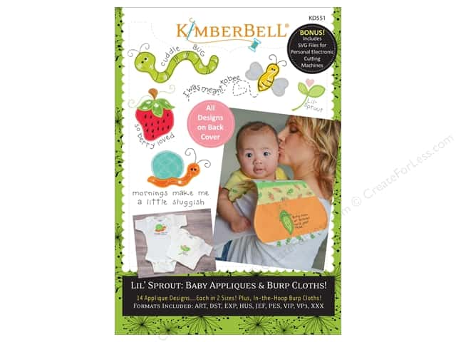 Kimberbell Designs Patterns Lil' Sprout Baby Appliques Burp Cloth CD