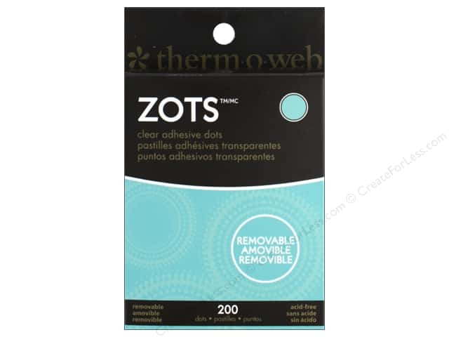 Therm O Web Zots Clear Adhesive Dots 200 pc. 3/8 x 1/64 in. Removable Medium