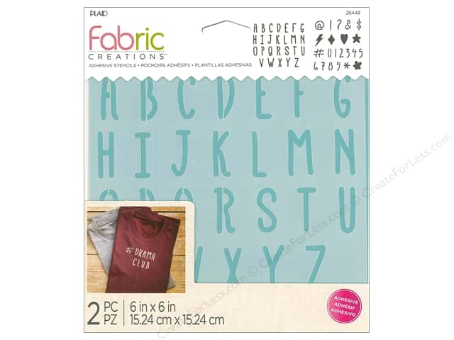 Plaid Fabric Creations Adhesive Stencils 6 x 6 in. Alphabet