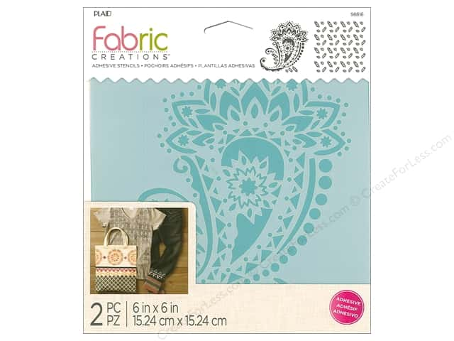Plaid Fabric Creations Adhesive Stencils 6 x 6 in. Paisley