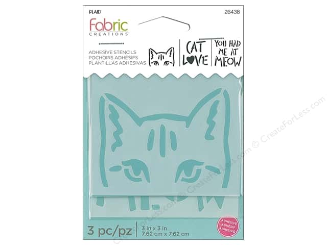 Plaid Fabric Creations Adhesive Stencils 3 x 3 in. Cat