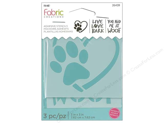 Plaid Fabric Creations Adhesive Stencils 3 x 3 in. Dog (3 sets)