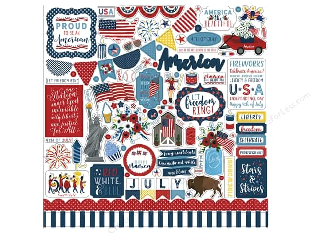Echo Park Collection Celebrate American Sticker 12 in. x 12 in. Element (15 pieces)