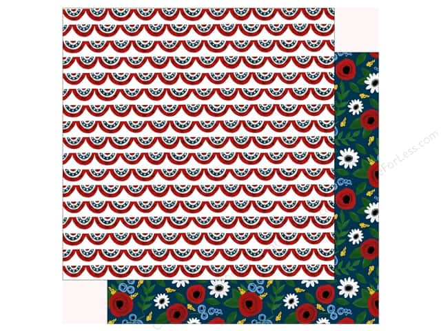 Echo Park Collection Celebrate American Paper 12 in. x 12 in.  Patriotic Banners (25 pieces)