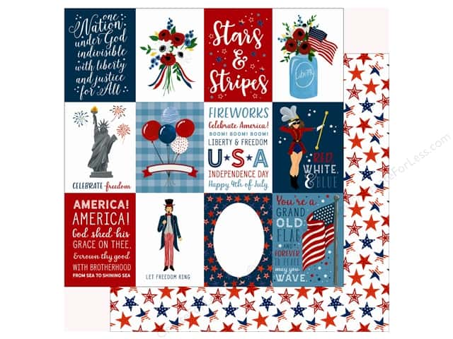 Echo Park Collection Celebrate American Paper 12 in. x 12 in.  Journaling Cards 3 in. x 4 in. (25 pieces)
