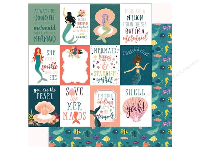 Echo Park Collection Mermaid Tales Paper  12 in. x 12 in. Journal Cards 3 in. x 4 in. (25 pieces)
