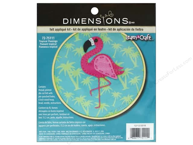 Dimensions Applique Kit Learn A Craft Felt Tropical Flamingo