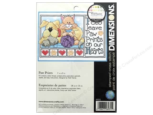 Dimensions Cross Stitch Kit 7 in. x 5 in. Paw Prints