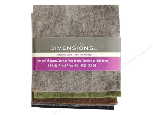 Dimensions 100% Wool Felt 6 in. x 6 in. Neutral Bundle