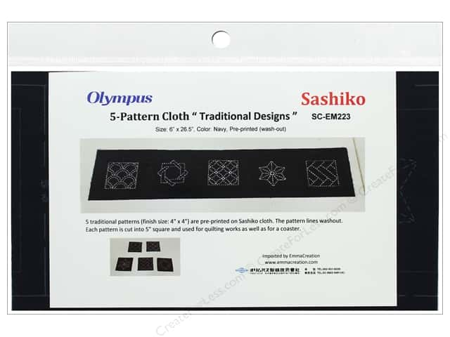 "Olympus Sashiko Cotton Cloth 6""x 26.5 in. Pre-printed Navy"