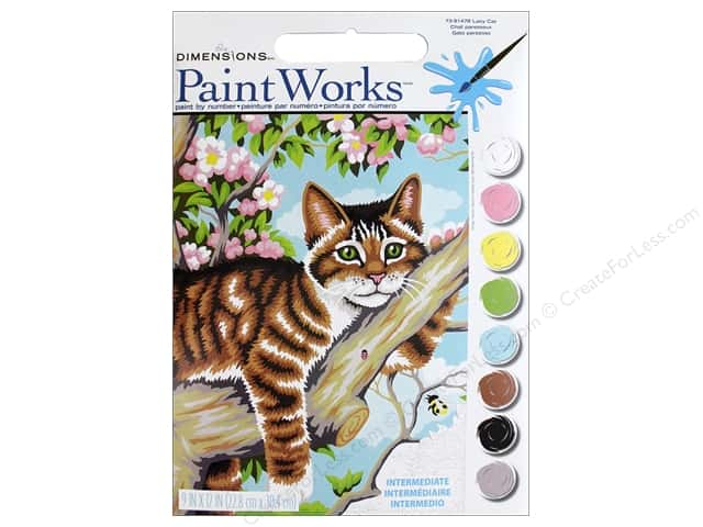 Dimensions PaintWorks Paint By Number 9 in. x 12 in. Lazy Cat