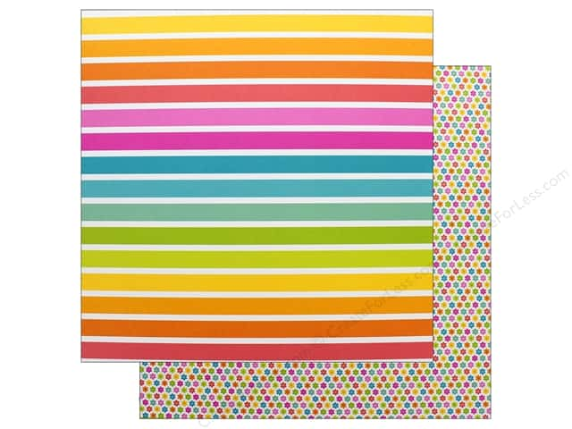 Doodlebug Collection Sweet Summer Paper 12 in. x 12 in. Cabana Stripe (25 pieces)