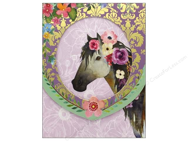 Punch Studio Note Pad Pocket Window Horse with Flowers