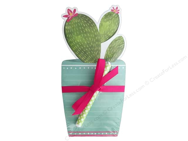 Lady Jayne Note Pad Die Cut With Pen Potted Cactus