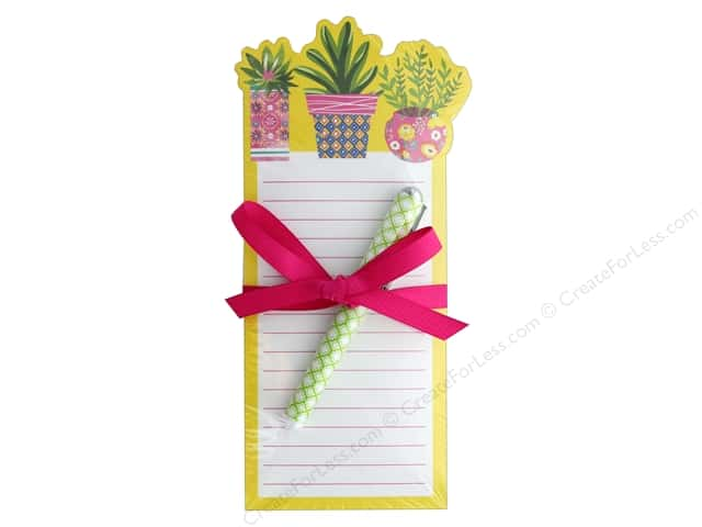 Lady Jayne Note Pad Die Cut With Pen Yellow Succulents