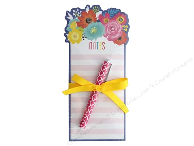 Lady Jayne Note Pad Die Cut With Pen Blue Floral Bouquet
