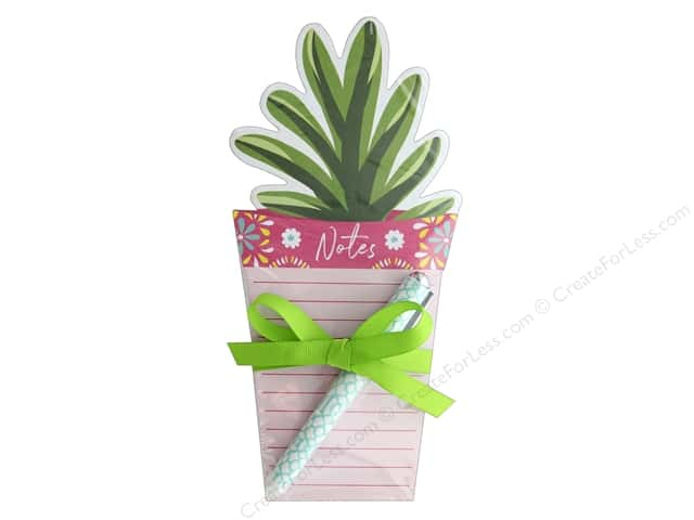 Lady Jayne Note Pad Die Cut With Pen Potted Plant