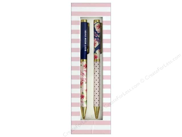 Lady Jayne Pen Boxed Set Navy Roses Best Mom 2 pc