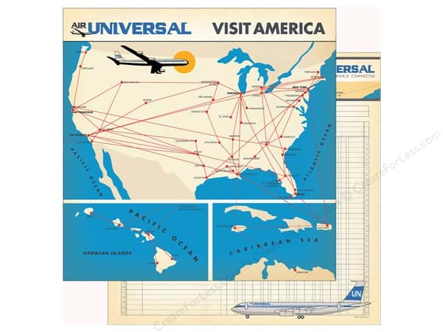 Carta Bella Collection Passport Paper 12 in. x 12 in. Flight Map