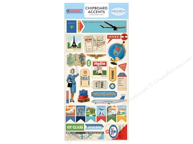 Carta Bella Collection Passport Chipboard 6 in. x 12 in. Accents