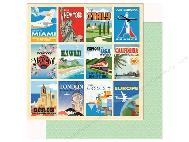 Carta Bella Collection Passport Paper 12 in. x 12 in. Destination Cards