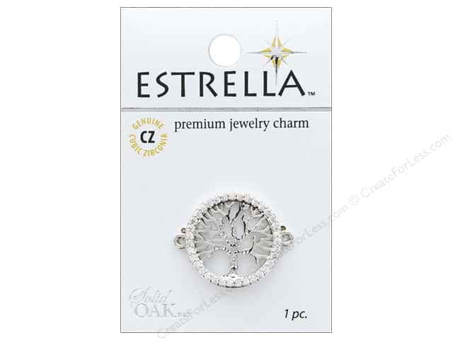 Solid Oak Charm Estrella Cubic Zirconia Tree Of Life Silver
