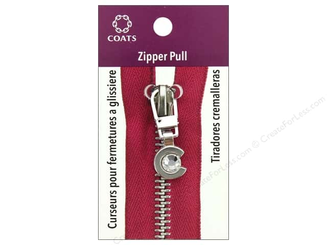 Coats & Clark Zipper Pull C With Stone Silver