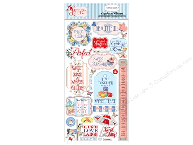 Carta Bella Collection Practically Perfect Chipboard 6 in. x 12 in. Phrases