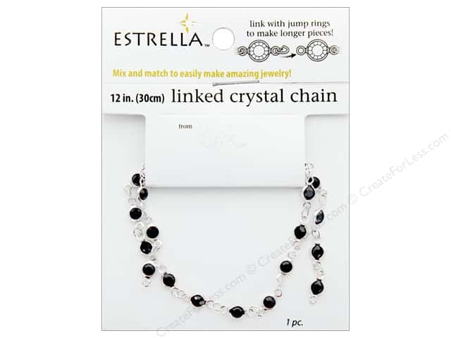 "Solid Oak Chain Estrella 12"" Close Link 4mm Silver/Black"