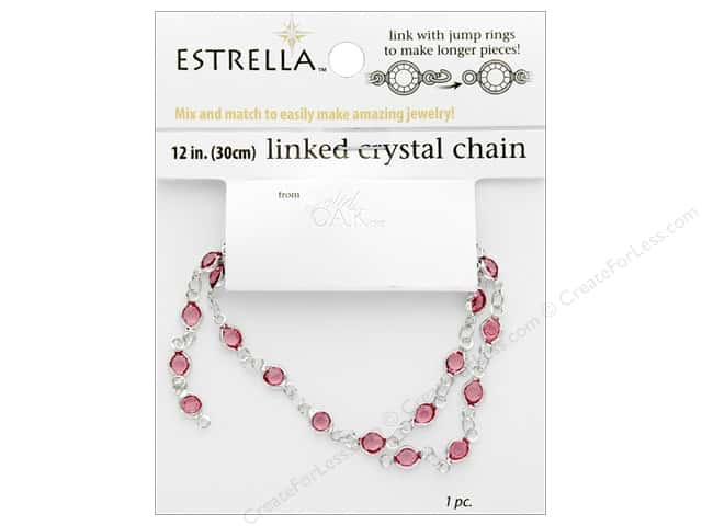 "Solid Oak Chain Estrella 12"" Close Link 4mm Silver/Rose"