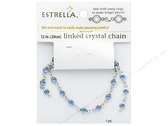 Solid Oak Chain Estrella 12 in.  Close Link 4 mm Silver/Aquamarine