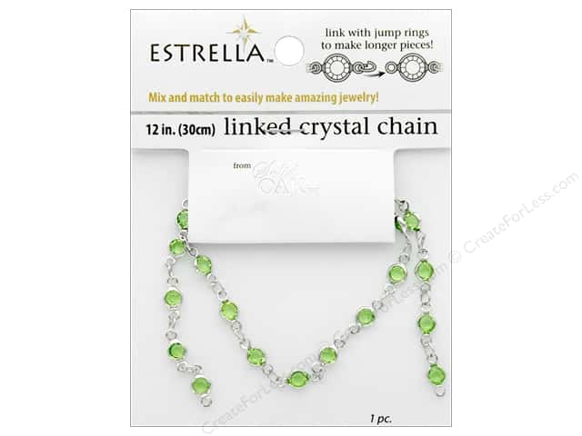 Solid Oak Chain Estrella 12 in.  Close Link 4 mm Silver/Peridot