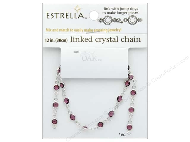 Solid Oak Chain Estrella 12 in.  Close Link 4 mm Silver/Amethyst