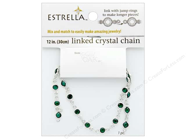 Solid Oak Chain Estrella 12 in. Close Link 4 mm Silver/Emerald