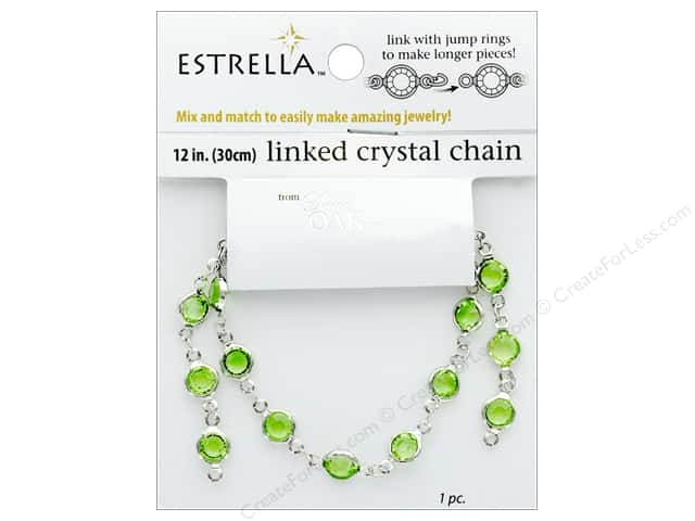 Solid Oak Chain Estrella 12 in. Close Link 6 mm Silver/Peridot