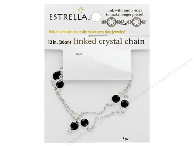 Solid Oak Chain Estrella 12 in.  Wide Link 6 mm Silver/Black
