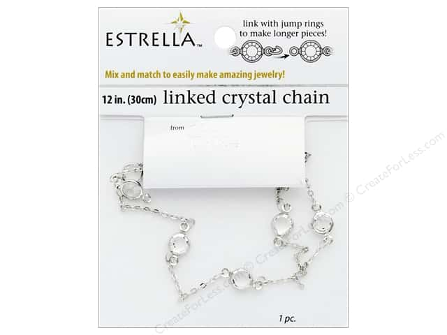 Solid Oak Chain Estrella 12 in. Wide Link 6 mm Silver/Crystal