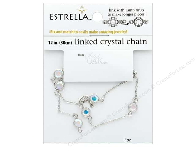 Solid Oak Chain Estrella 12 in. Wide Link Medium Silver/Crystal Aurora Borealis