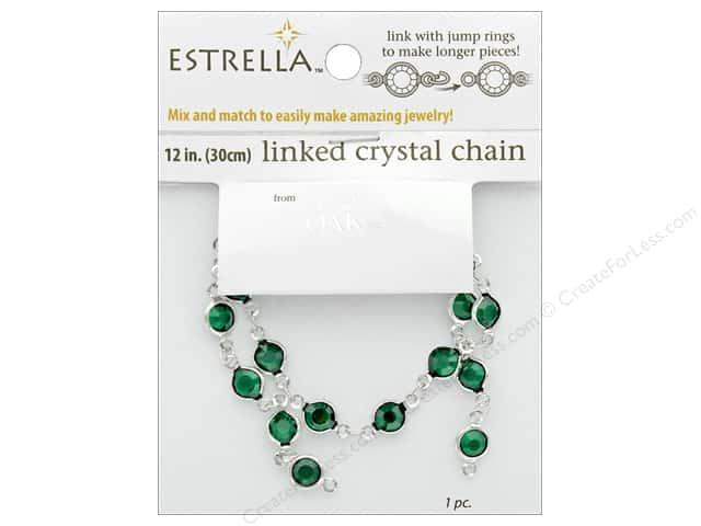 Solid Oak Chain Estrella 12 in. Close Link 6 mm Silver/Emerald