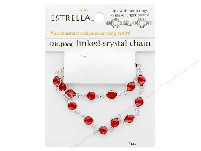 Solid Oak Chain Estrella 12 in.  Close Link 6 mm Silver/Ruby