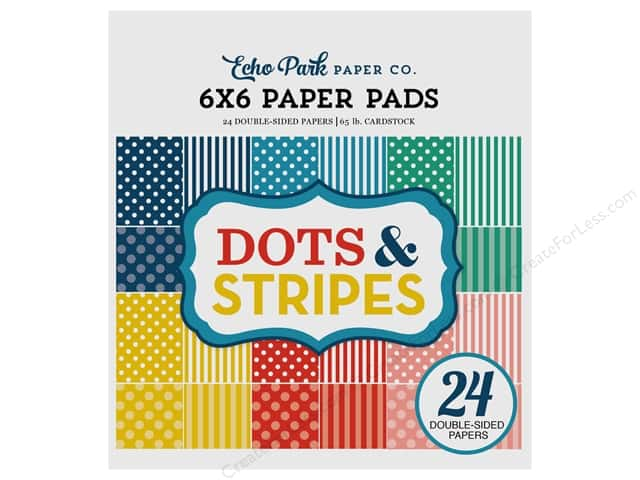 Echo Park Collection Dot & Stripe Summer Paper Pad 6 in. x 6 in.