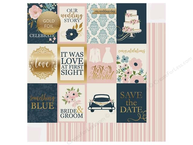 Echo Park Collection Just Married Paper 12 in. x 12 in. Journaling Cards 3 in. x 4 in. (25 pieces)