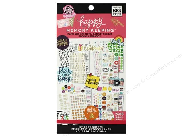 Me&My Big Ideas Collection Create 365 Happy Memory Keeper Sticker Value Pack Big Dates