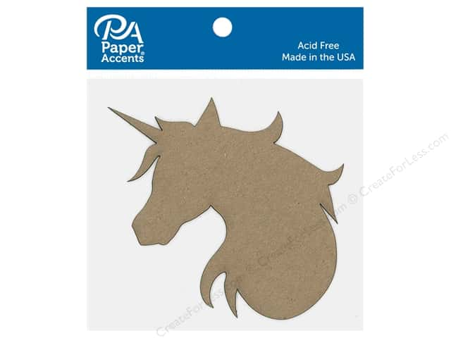 Paper Accents Chip Shape Unicorn Head Natural 6 pc