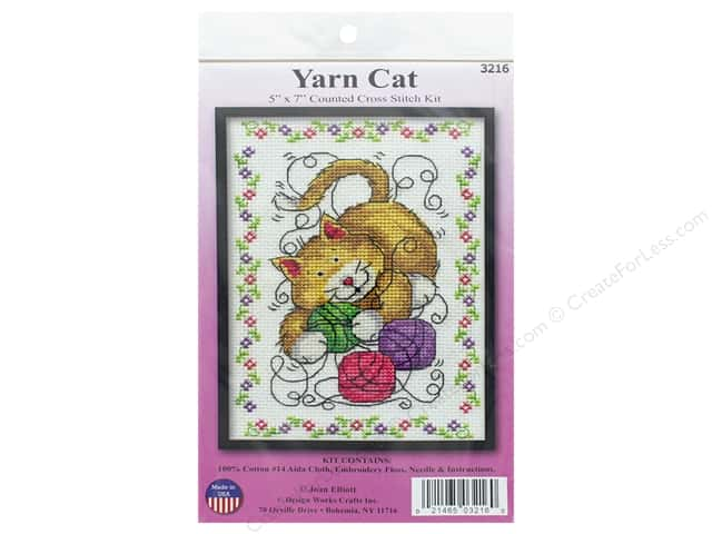 Design Works Counted Cross Stitch Kit 5 x 7 in. Yarn Cat